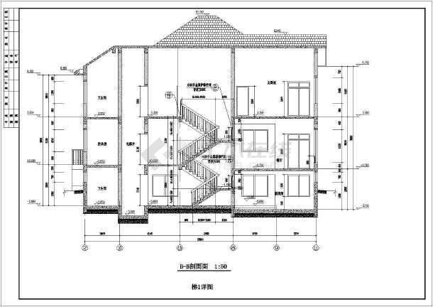 某地高档别墅T型建筑施工图-图3