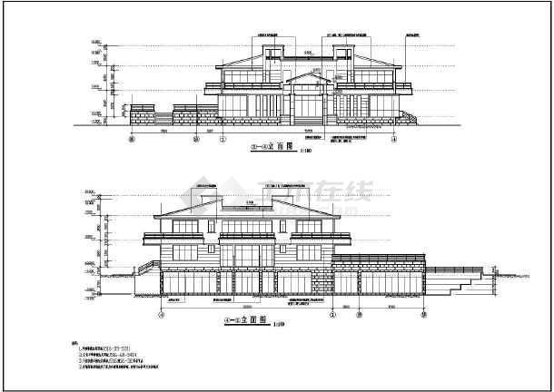 某休闲别墅建筑结构建筑施工图(含施工说明)-图3