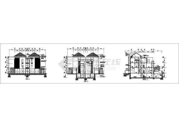 某地大型双拼豪华别墅建筑施工图-图1