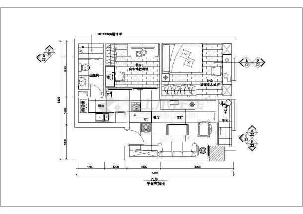 某室内家装cad室内设计平面施工图-图1