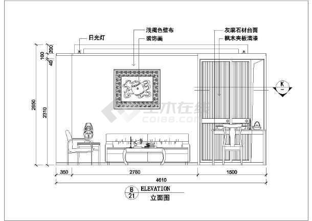 某室内家装cad室内设计平面施工图-图3