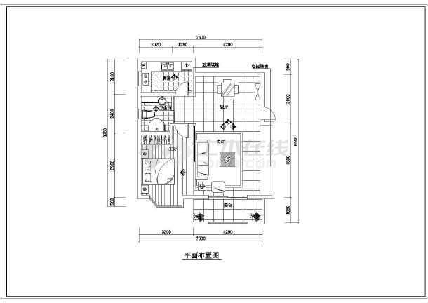 整套小户型装修设计cad施工图-图2
