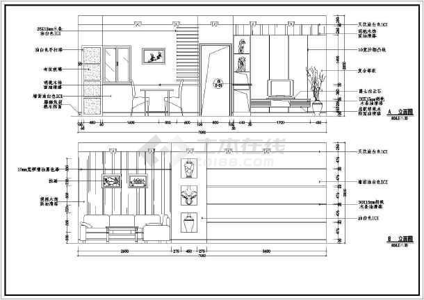 某样板房装修施工设计CAD图-图2