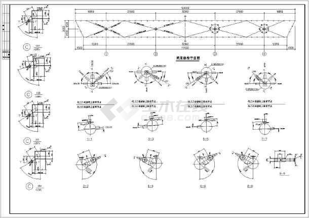 体育看台网架膜结构cad图纸(标注详细)-图2