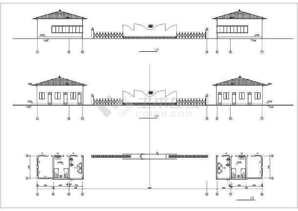 某工厂几套大门建筑设计方案cad图-图2