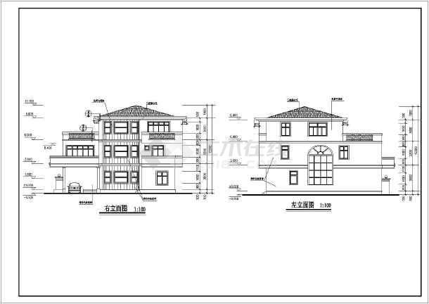 某地新小户型别墅建筑全套图(共7张)-图3