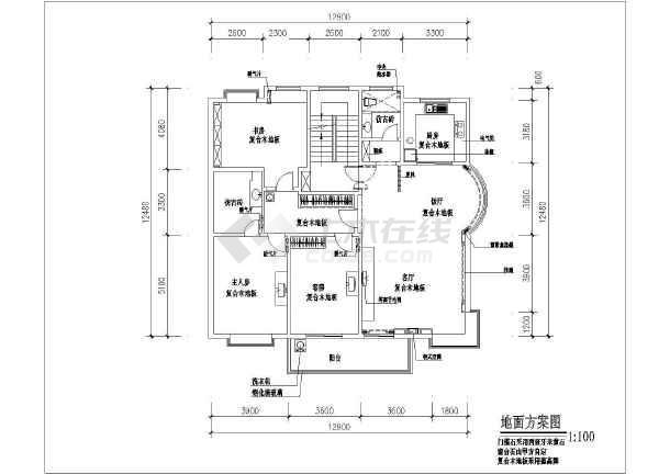 某商品房装修设计cad方案图-图2