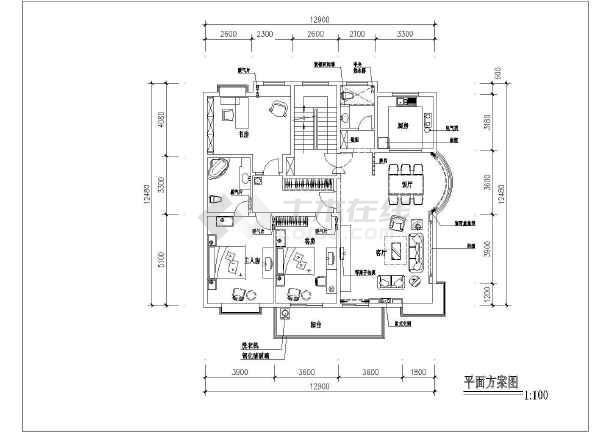 某商品房装修设计cad方案图-图3
