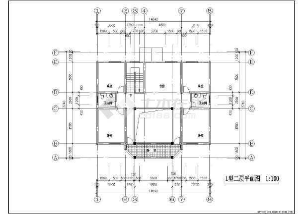 某地创业农庄L型别墅建筑图(共8张)-图1