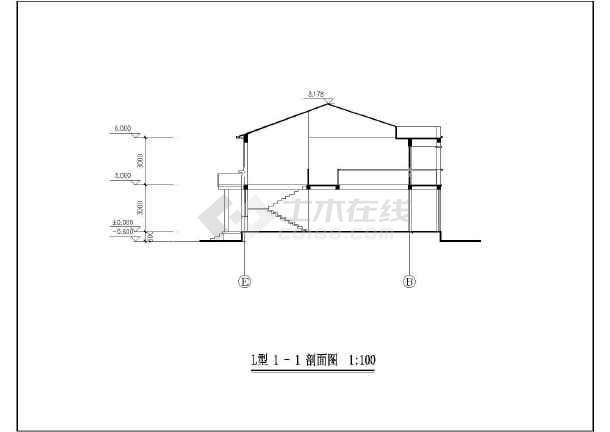 某地创业农庄L型别墅建筑图(共8张)-图3