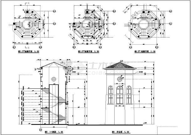 某会议中心建筑设计施工CAD图-图2