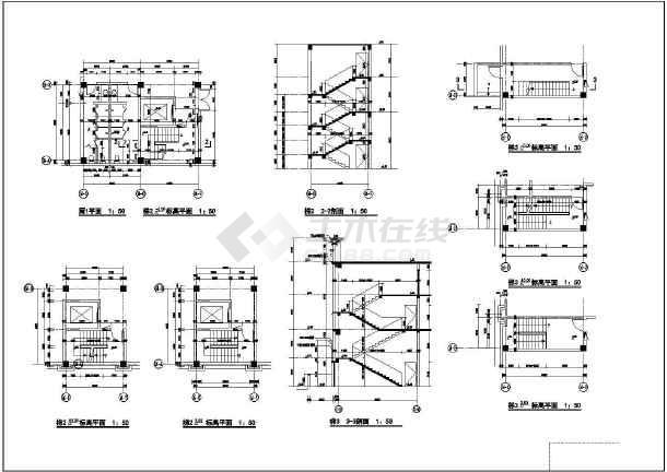 某会议中心建筑设计施工CAD图-图3