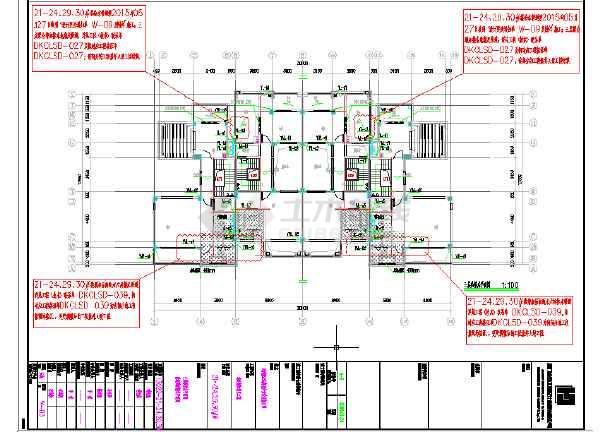 乡村联体别墅电气和给排水CAD施工图-图3