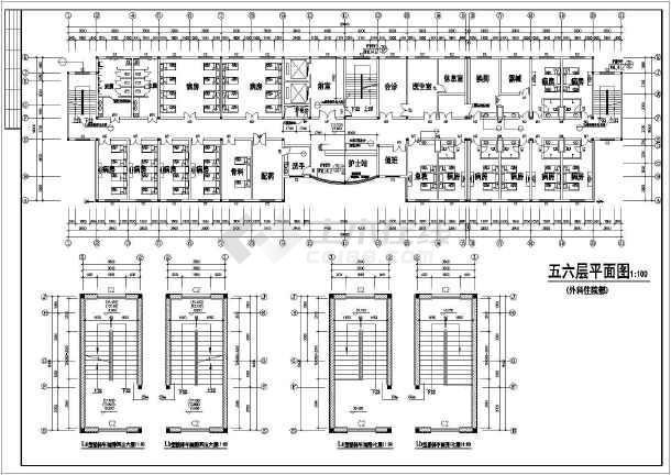 某医院住院部全套装修cad施工图-图2