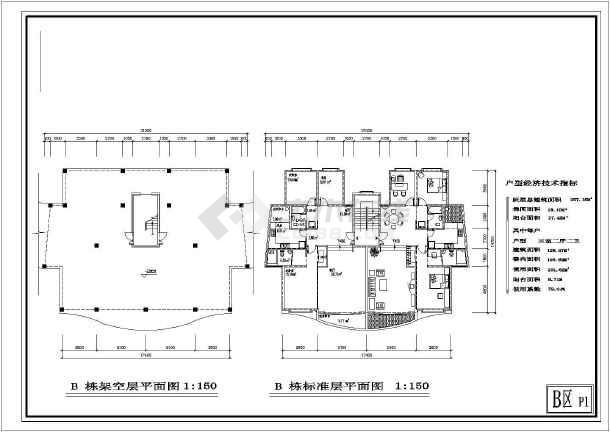 某户型住宅楼建筑图(共7张)-图3