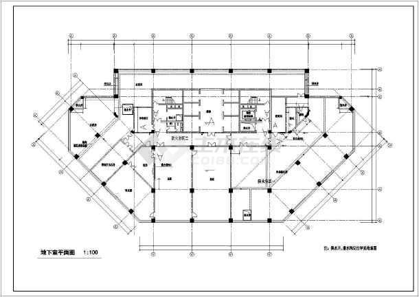 某高层人民医院门诊住院综合大楼cad施工图-图1