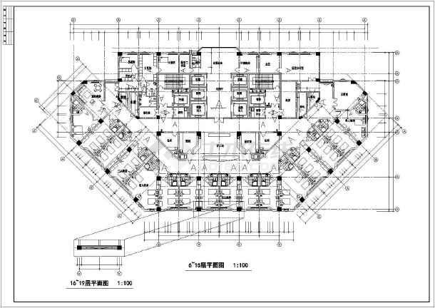 某高层人民医院门诊住院综合大楼cad施工图-图3