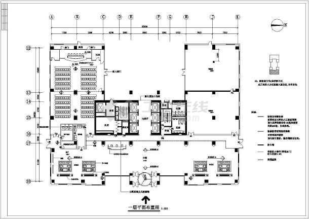某地银河公司高层办公楼全套建筑设计施工CAD图-图3