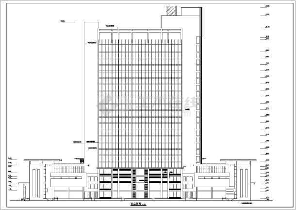 某高层办公大厦建筑设计施工cad图-图1