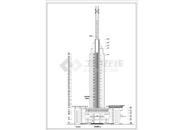 某高层办公大厦建筑设计施工cad图-图2