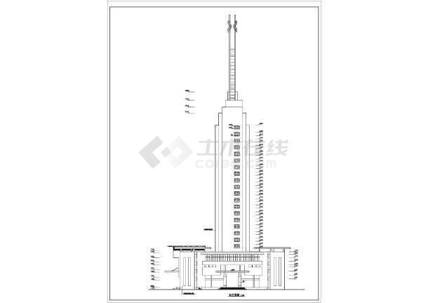 某高层办公大厦建筑设计施工cad图-图3
