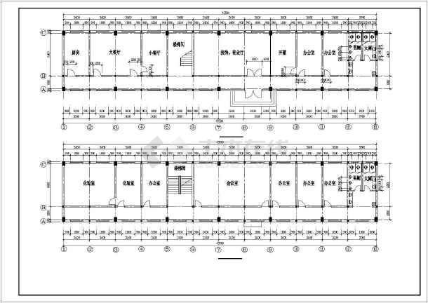某办公综合楼建筑设计施工CAD图-图1
