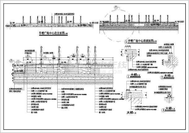 整套旱喷广场设计建筑方案图纸-图3