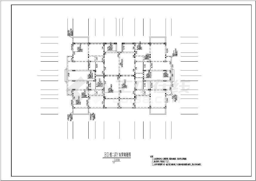 某地4层框架洋房结构设计图(含设计说明)-图2
