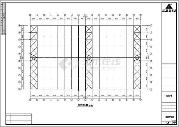 某石材公司钢筑厂房建筑结构图-图3