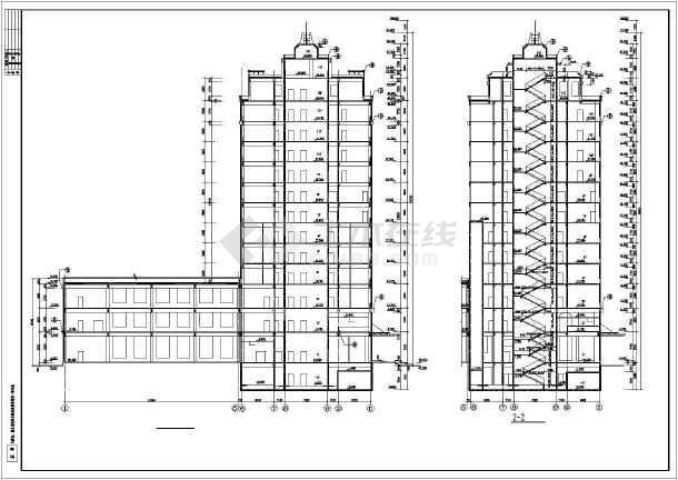 某总工会综合楼建筑设计施工cad图-图2