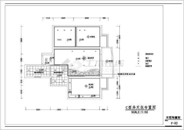 某简洁室内装修设计cad施工图-图2