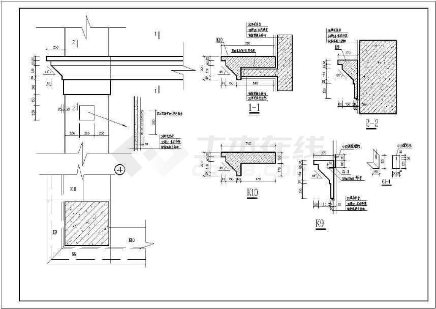 某医院大门建筑结构图纸(共9张)-图2