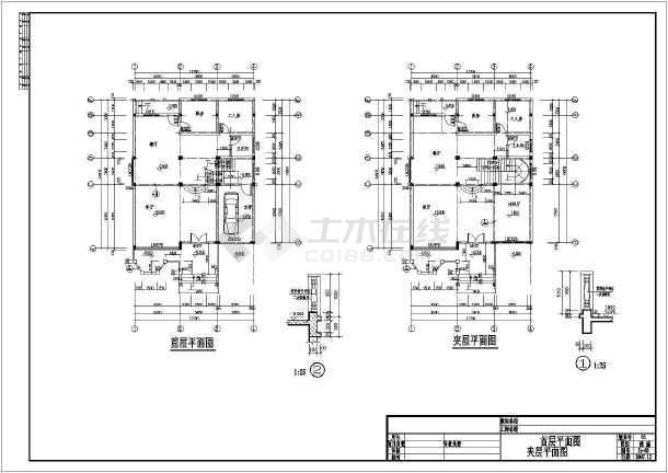 某三层别墅建筑cad施工图-图2