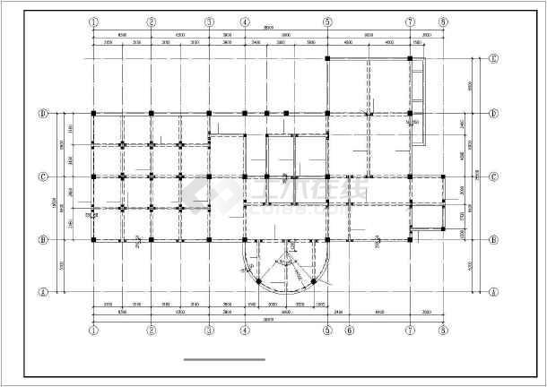 某三层休闲中心框架结构设计图-图1