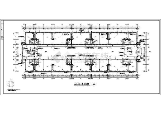 某市四层办公楼平立剖面详细施工图纸-图1
