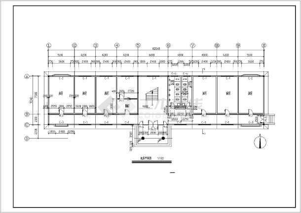 某多层公司办公楼详细建筑图-图1