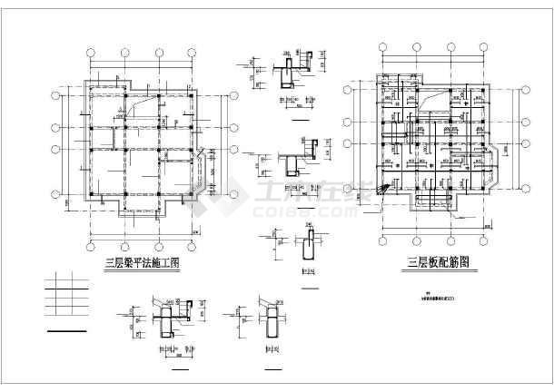 某三层框架别墅建筑结构设计图-图2