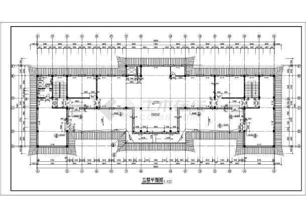 某市办公楼建筑设计CAD施工图 (仿古)-图3