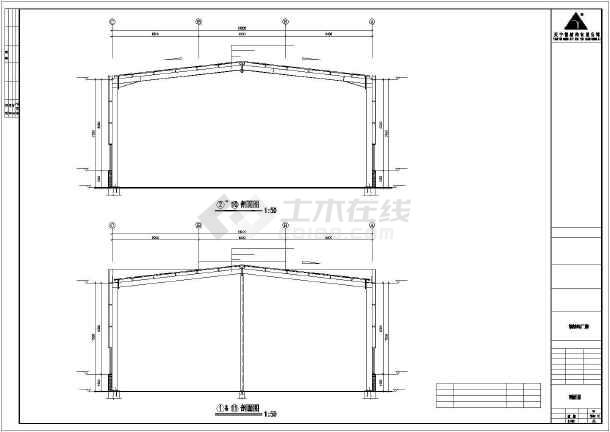 某地钢式厂房建筑结构cad图-图2