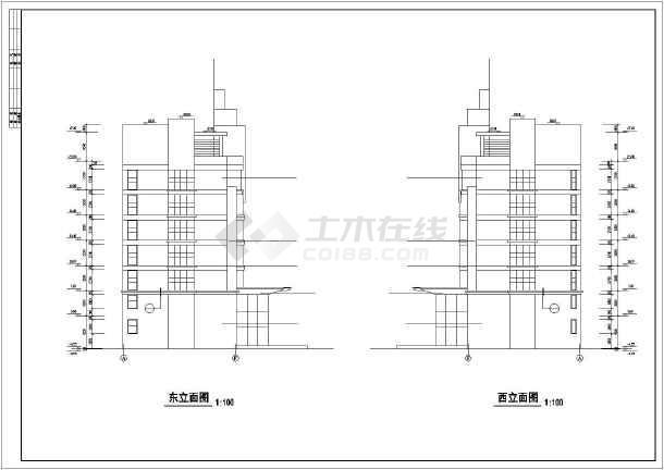 某消防队办公楼全套建筑设计施工CAD图-图2