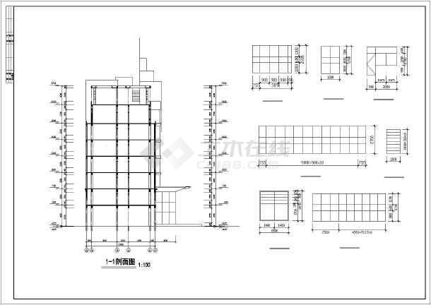 某消防队办公楼全套建筑设计施工CAD图-图3