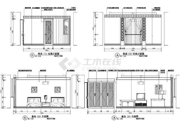 某总统套房装潢施工设计CAD图-图1