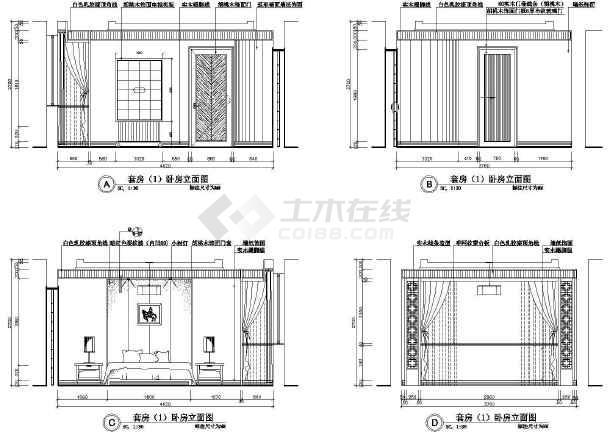某总统套房装潢施工设计CAD图-图2