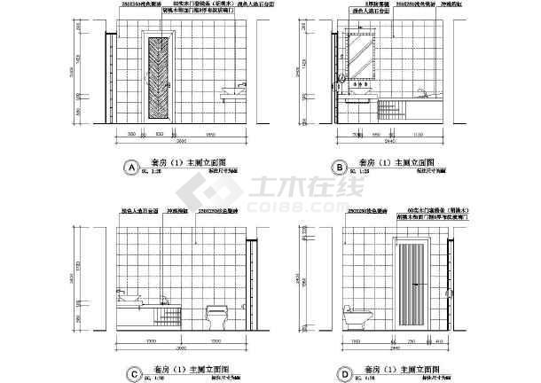 某总统套房装潢施工设计CAD图-图3