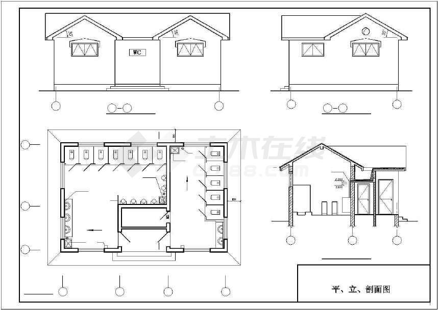 某公厕建筑及结构施工图公厕-图2
