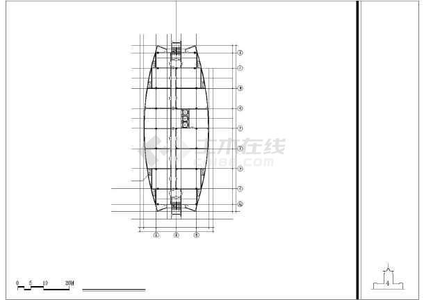 某培训中心建筑设计方案CAD图-图3