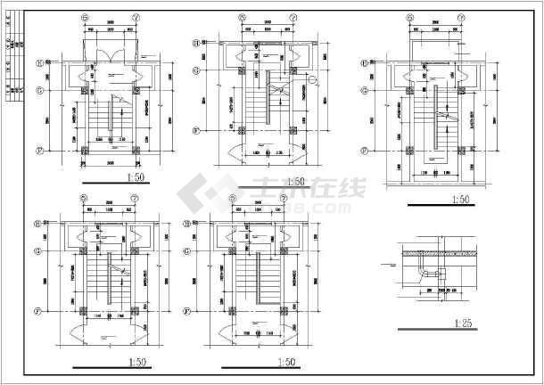 某派出所综合楼全套建筑设计施工CAD图-图2