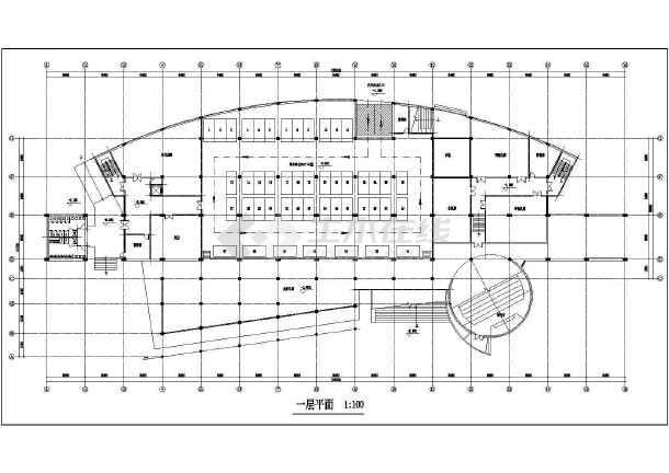 某图书信息中心建筑设计方案CAD图-图1