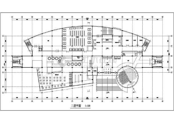 某图书信息中心建筑设计方案CAD图-图2