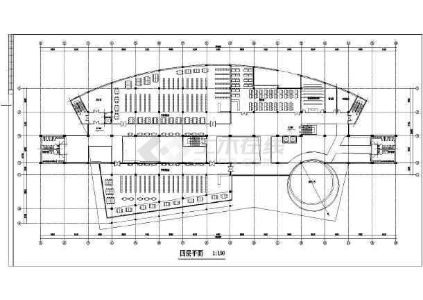 某图书信息中心建筑设计方案CAD图-图3